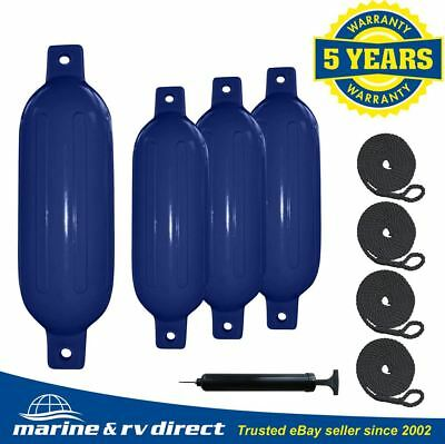 "4 Boat Fender 6.5"" x 23"" Vinyl Ribbed Bumpers Dock Shield Protection Blue"