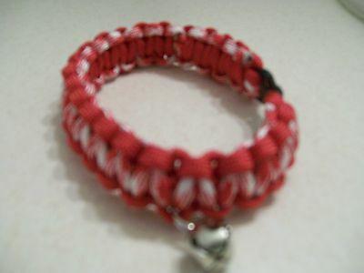550 paracord cat collar non reflective red and white with red edge 10 1/2