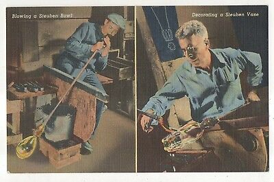 Steuben Glass Blowing, Corning Glass Works, CORNING NY Vintage New York Postcard