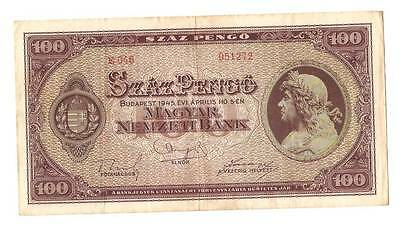 1945 Hungary Soviet Occupation 100 Pengo Banknote
