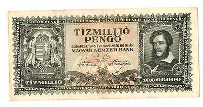1945 Hungary Hyper Inflation 10000000 / 10 Million pengo banknote