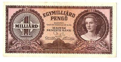 1946 Hungary Hyper Inflation 1.000.000.000 / 1 billion pengo banknote