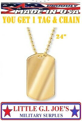 Gold Plated Stainless Steel Dog Tag ID Dog Tag 8386