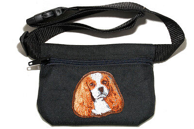Embroidered Dog treat pouch bag - for dog shows. Cavalier King Charles Spaniel