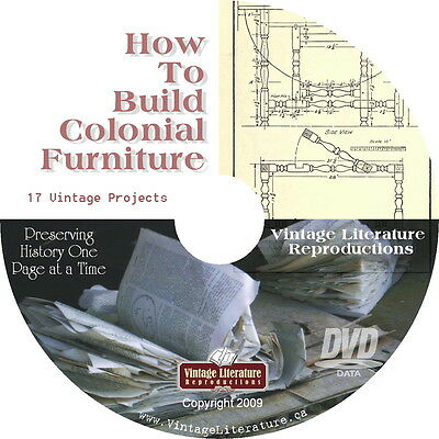 How To Build Colonial Furniture { 1921 ~ Blueprints and Plans } Book on DVD