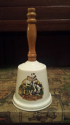 Norman Rockwell Circus Clown with Boy Ceramic Wooden Handle Bell