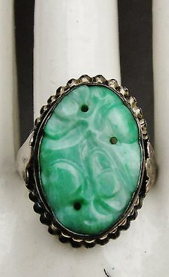 Old Chinese carved Jade sterling silver ring Size 6