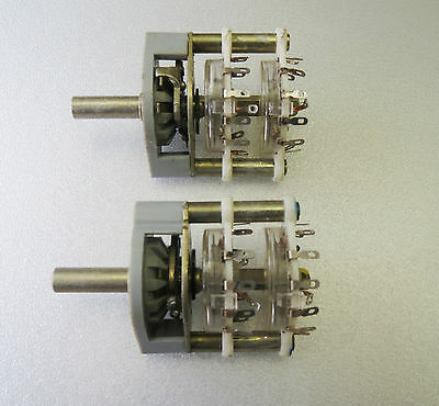 2x RFT Rotary Switch 2 Pole 11 positions Shorting 2P11T/2P12T Paladium Contacts