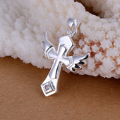 hot S80 Silver Cross with wing Necklace Pendant without Chain k110