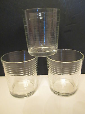 VINTAGE SET OF (3) ON THE ROCKS GLASSES - HORIZONTAL LINES - EXCELLENT CONDITION
