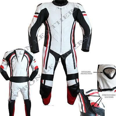 White Black Red Top Quality 1 Piece Motorcycle / Motorbike Leather Suit