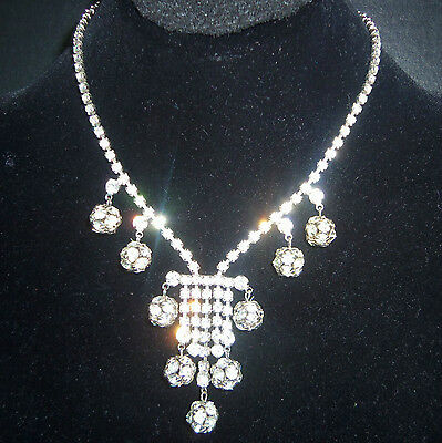 Juliama DECO GORGEOUS DANGLE CRYSTAL RHINESTONE NECKLACE & EARRINGSS ESTATEJEWEL