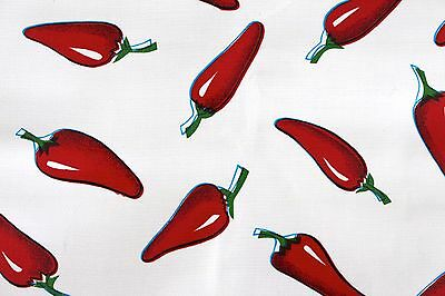 Mexican Oilcloth Tablecloth PVC Cotton Waterproof  Red Chillies 100 Cm X 120 Cm