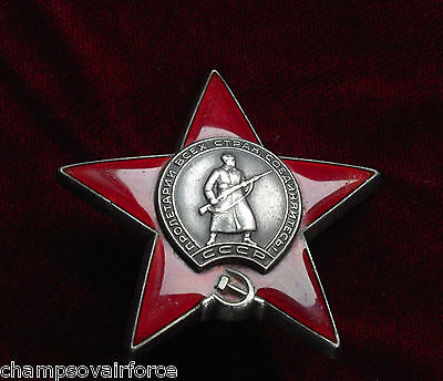 ORIGINAL 3356624 SOVIET MILITARY ORDER RED STAR RUSSIA SILVER