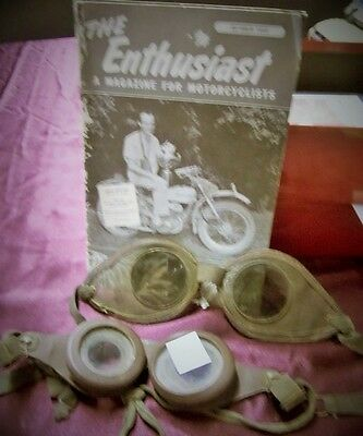 October 1956 The Enthusiast Magazine & 2 pair of motorcycle goggles