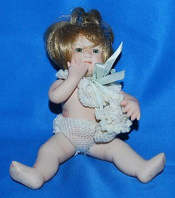 "SEYMORE MANN CONNOISSEUR COLLECTION DOLL,BLOND HAIR,PORCELAIN 7"" PRICE REDUCED"