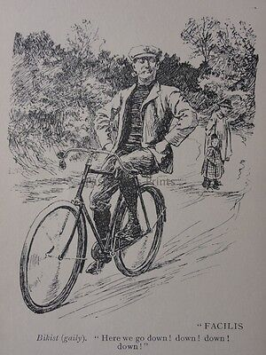 Bicycle & Cycle HAND OFF HANDLEBAR, BIKIST HERE WE GO DOWN Antique Punch Cartoon