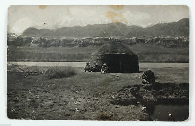 1920s Soviet Russia Kyrgyzstan Middle Asia Family near Yurta Real Photo Russian