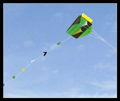 Single Line Parafoil Pocket Kite & Long Tail in Pouch Easy Fly Outdoor Fun Green