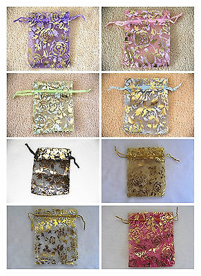 Organza Wedding Party Gift Jewellery Bag Pouch 7x9cm Rose Pattern 8 Colours 100x