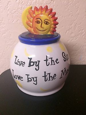 """Handpainted Ceramic Jar With Sun & Moon """"Live By The Sun, Love By The Moon"""" 6"""""""