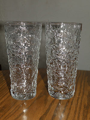 2 Vintage Anchor Hocking Lido Milano Clear Glass Drinking Glasses Tea Tumblers