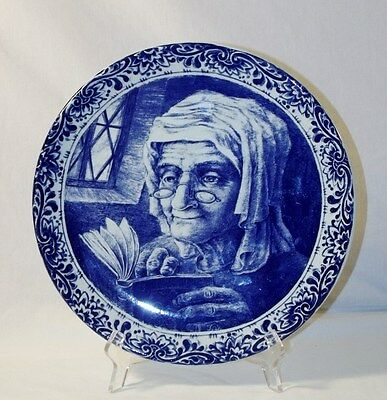 """Vintage Delft Boch Freres La Louviere Belgium 11-1/2"""" Plate Charger of Old Woman"""