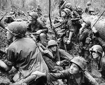 """American Soldiers in a mud-filled bomb crater 8""""x 10"""" Vietnam War Photo #4"""