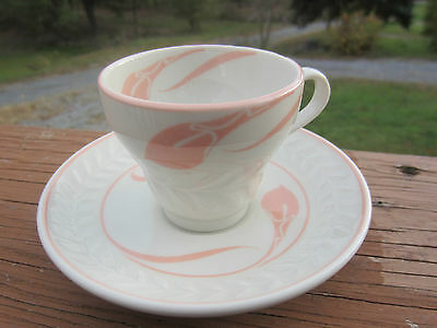 Vintage Shenango China Anchor Hoking Pink Trim Demitasse Cup Saucer White Leaf