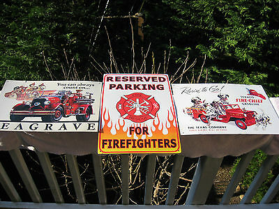 Lot of 3 Firefighters Metal Signs