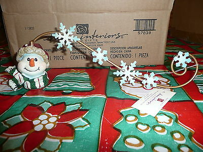 NIB New Home Interiors Snowman Head w/ Scarf Snowflakes Candle Snuffer Christmas