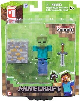 1x NEW ZOMBIE MINECRAFT OVERWORLD FIGURE SERIES #1 COLLECTIBLE TOY BY JAZWARES!!