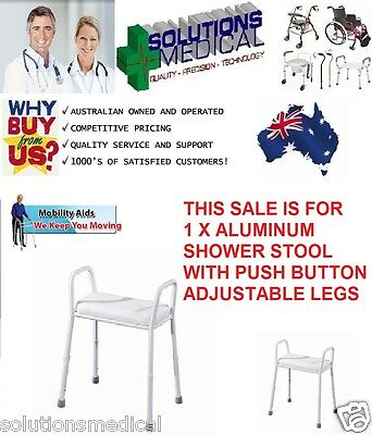 Aluminium Shower Stool Chair, Adjustable, Removable Padded Seat Aust Standards