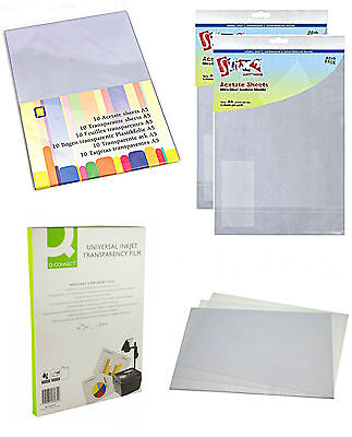 A4 Acetate Sheets Clear Inkjet Printable Sheet Heat Resistant Stix2 & Q Connect