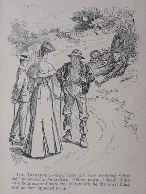 Motorcycle YOCAL GIVES FIRST AID TO WRECKED MOTOR CYCLES Antique Punch Cartoon