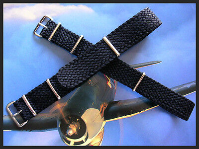 20mm Black Woven Braided nylon SS NATO G10 ® watch band military strap IW SUISSE
