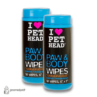2 x Pet Head Dog/Puppy Paw & Body Wipes ''Orangelicious'' 50 wipes, 6''x7''
