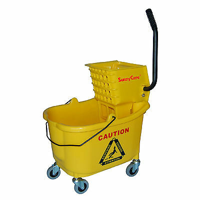 SunnyCare® 35qt Mop Bucket with Wringer: Side Press -Plastic -Yellow -NEW