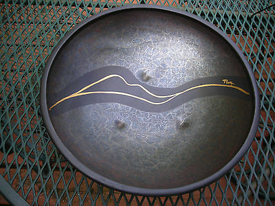"""3 footed  bowl signed,from Portugal,""""Zen"""" inspired,Unique non-traditional,NR"""