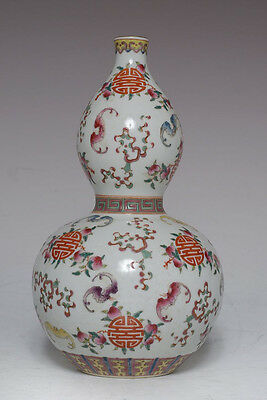 CHINESE 19C QING JIAQING PERIOD POLYCHROME DOUBLE GOURDS VASE SIGNED MT891