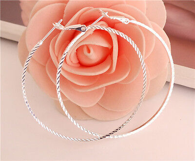 Fashion 1pair Sterling Silver Popular New Style Charming Lady's Hoop Earrings
