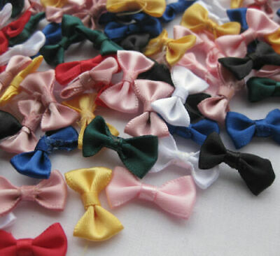Small Satin Ribbon Bows Flower Appliques sew Craft Kid's cloth Lots Upick A2029