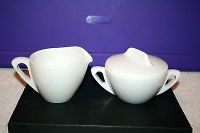 Vintage Prolon Ware Melmac White Creamer and Sugar Bowl With Lid Set
