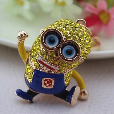 Precious Milk Dad Despicable Me Crystal Keychain small yellow people Key chain