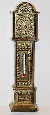 VINTAGE ENGLISH GRANDFATHER CLOCK BRASS THERMOMETER ENGLAND 873195