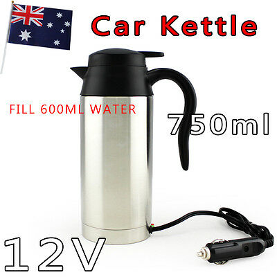 New Hot 12V In-Car 750ml Stainless Steel Kettle Camping Travel Portable Kettle