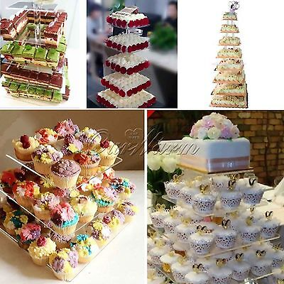 3 Tier Crystal Clear Acrylic Square Cupcake Stand Wed Party Birthday Decors New