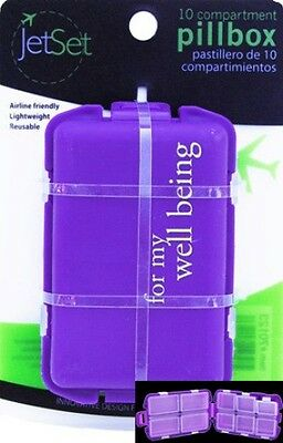 """Purple 10 Compartment Pill Box Saying """"For My Well Being"""" Made by Jet Set"""