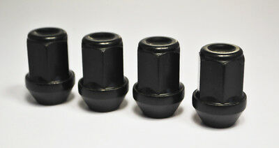 M12 x 1.5, 19mm Hex Alloy Wheel Nuts in Black. Set of 4.