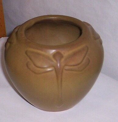 Van Briggle Dragonfly  Pot USA Pottery  Brown As-Is
